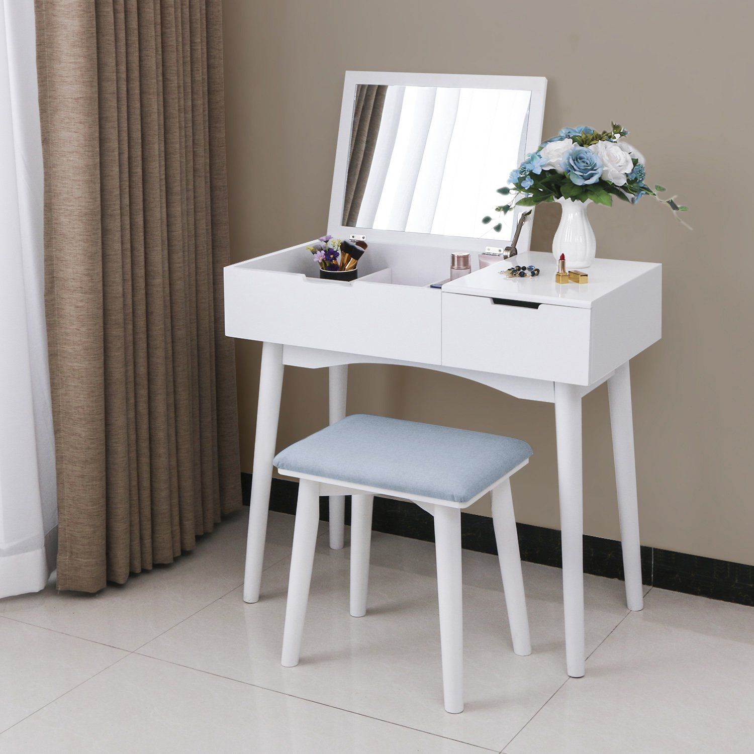 Bewishome Vanity Makeup Table Set Flip Top Mirror Sliding Drawer Cushioned Stool Organizer Dressing Tab White Vanity Desk Makeup Table Vanity Vanity Table