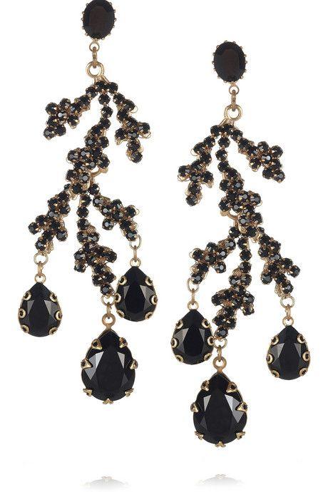 Bijoux Heart Corail Noir 24-karat gold-plated drop earrings