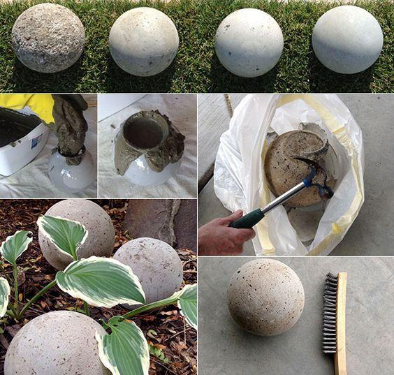 Gartendeko selber machen DIY Gartenkugeln Concrete, Garden art