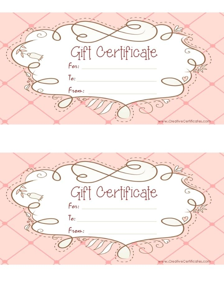 free printable pink gift certificate with a brown drawing makeup - printable gift certificate template