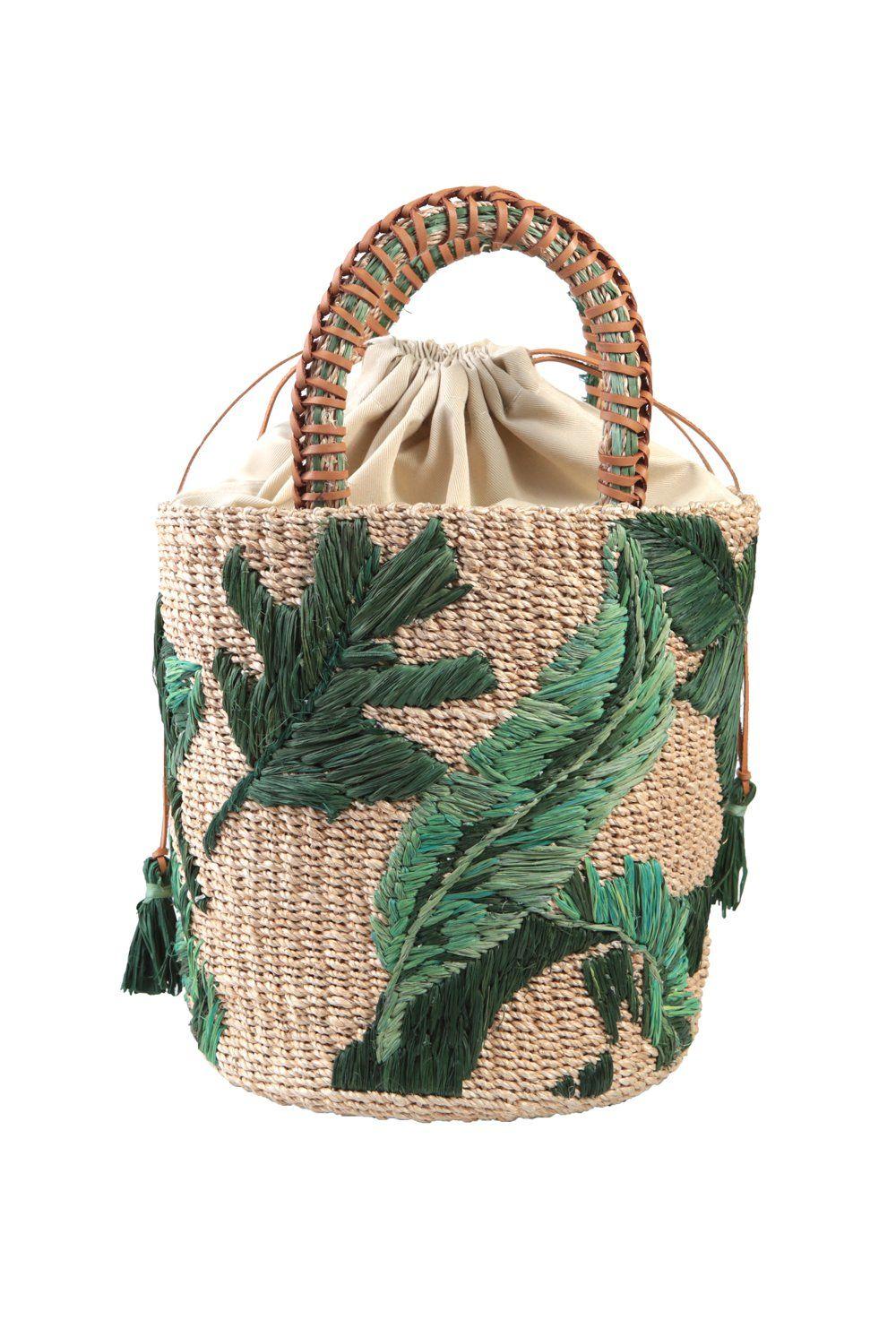 Palm Embroidered Nana Bucket Bag Min & Max