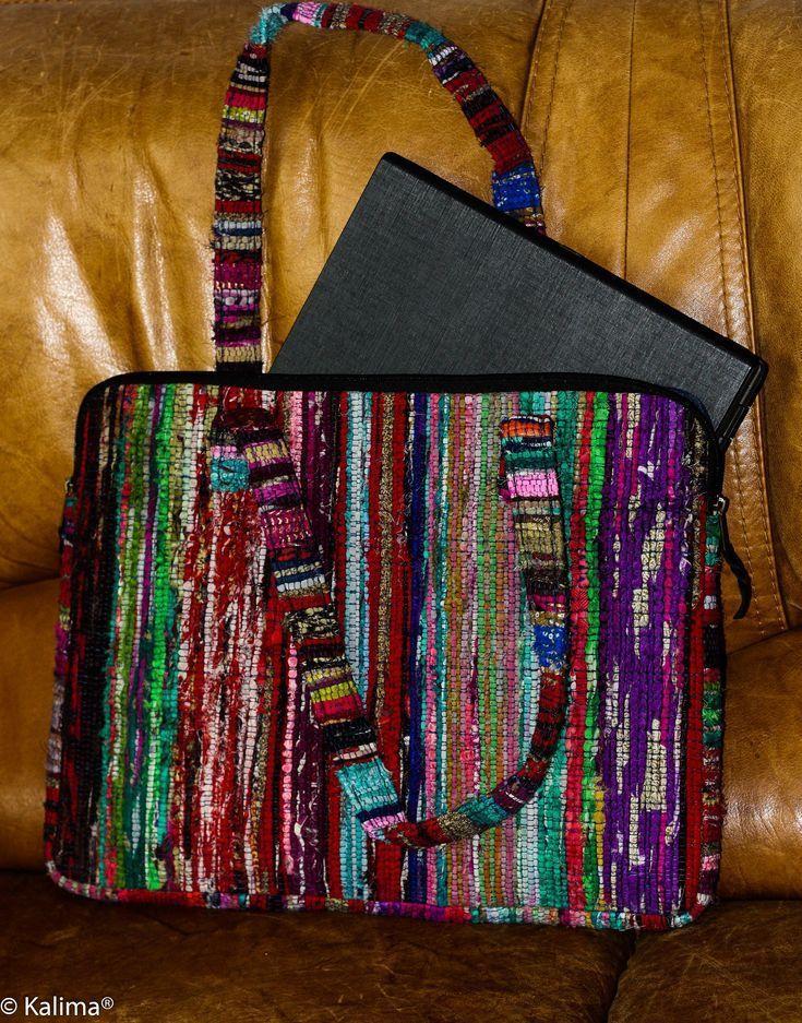 Laptoptasche, bunt, handgewebt bis 18 Zoll. Tragetasche für Akten, Recyclingabf…