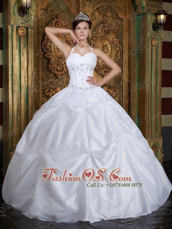 Vintage White Sweet 16 Dress Halter Taffeta Beading Ball Gown http   www. a906745aa