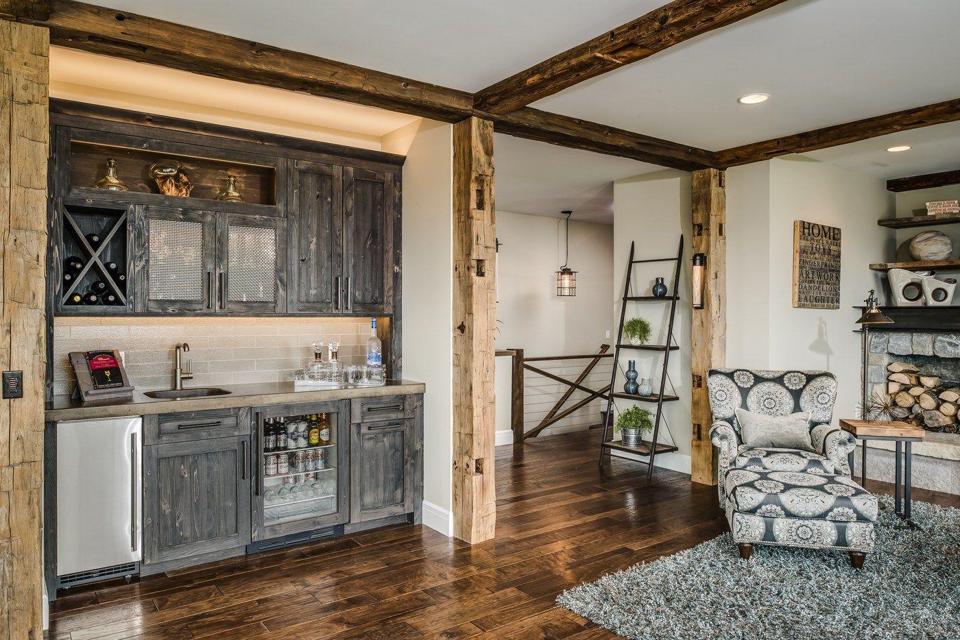 Modern Farmhouse Retreat Lower Level Bar Basement Design Detail