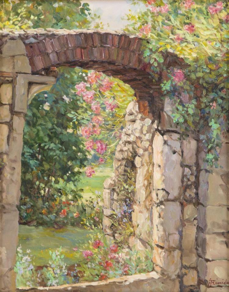 Jose Trinidad, Canadian (1924 - ), Stone Walled Garden, oil on ...