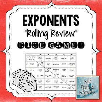 Exponent Rules - Laws of Exponents - Dice Game ...