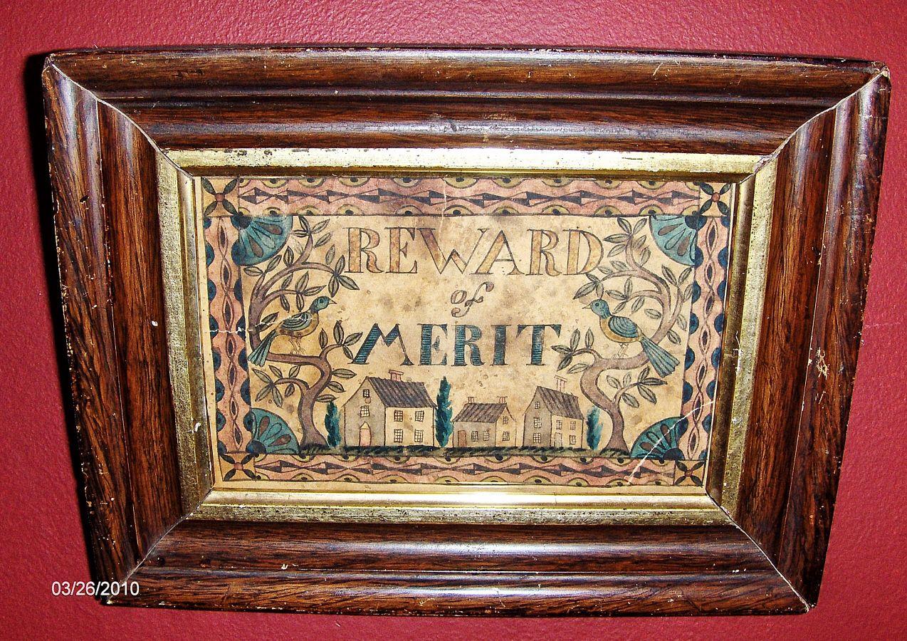 """Reward of Merit"" watercolor in early frame by Steve Shelton. (SOLD)"
