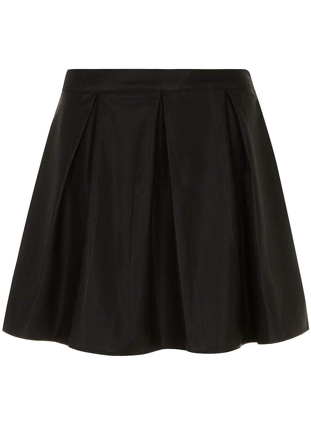 Black leather look skater skirt #DorothyPerkins
