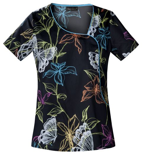 Mock Wrap Top in Embroidered Garden from Lambert's Uniforms