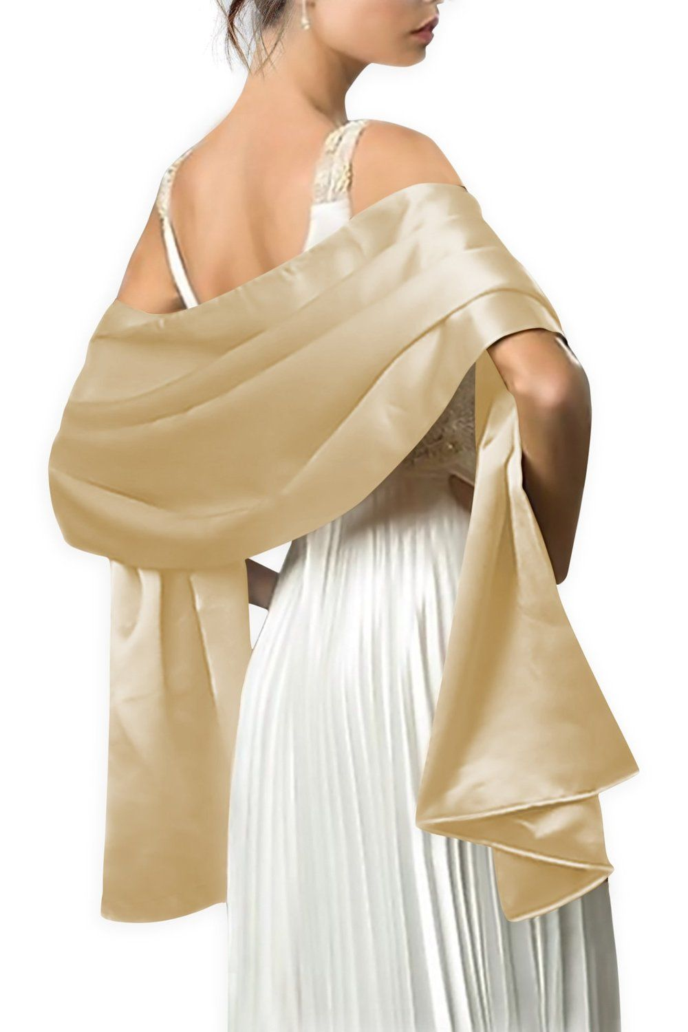 f30fa048e0a Black Butterfly Satin Shawl Wrap (Champagne Gold) at Amazon Women s  Clothing store