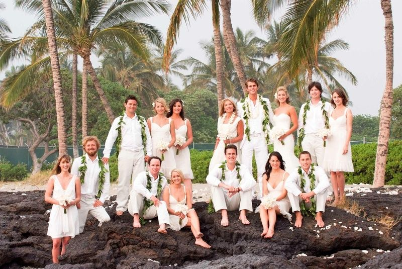 d7ddfcad20 Bridesmaids and groomsmen in ivory clothes. Bridesmaids and groomsmen in ivory  clothes Hawaii Wedding, Destination ...