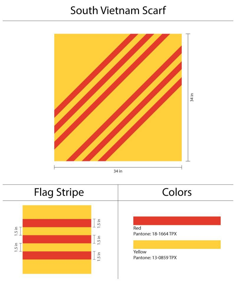 Custom Womens Scarf Design Inspired From South Vietnam Flag In Yellow And Red Custom Stripes South Vietnam Flag Vietnam Flag