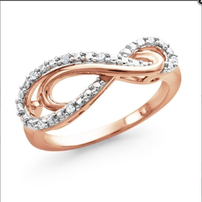 NWT JARED Diamond Infinity Ring Rose Gold over SS, Promise, Valentine's, Size 7 #Jared #InfinityBand
