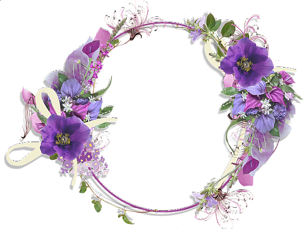 Purple Flower Round Frame Flower Frame Flower Border Purple Flowers