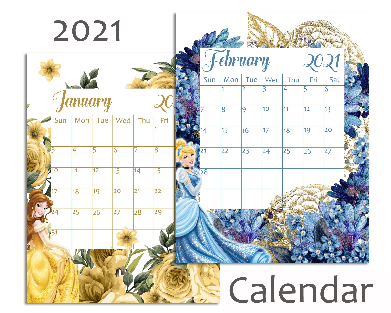 Utk Spring 2022 Calendar.Disney Princess 2021 Calendar 2021 Calendar Calendar Digital Calendar