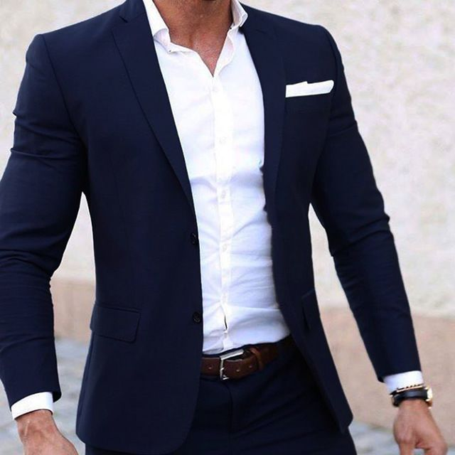 Men Summer Suits Custom Made Light Weight Breathable Blue Man Suit, Navy Blue Cool Tailor Made Summer Wedding Attire For Men | www.chasebuyit.com