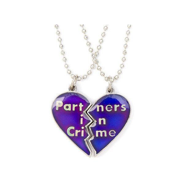 Best friends partners in crime half heart mood pendant necklaces best friends partners in crime half heart mood pendant necklaces 25 liked on aloadofball Gallery