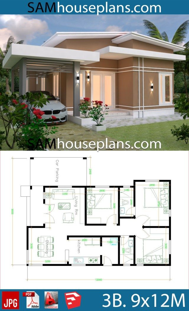 House Plans 9x12 With 3 Bedrooms Roof Tiles Sam House Plans Affordable House Plans Modern Bungalow House Small House Design Plans