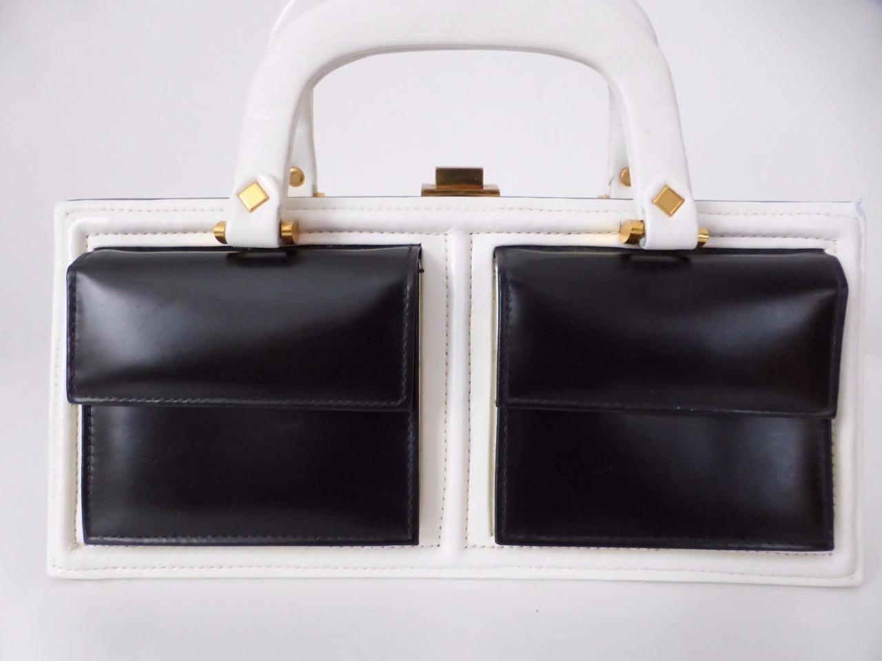Hollywood Handbags Sydney Australia Rare Vintage Black And White Leather Handbag Ebay