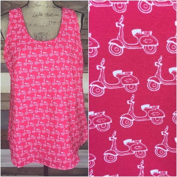 "Vespa Print Pink Blouse  - Med Vespa Print Pink Blouse  - Med  B: 20"" (laying flat) / Length: 27""  #woodsnap #vespa #funprint #unique #pink #vespascooter #printblouse #whimsical #pinkandwhite Banana Republic Tops Blouses"
