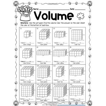 St. Patrick's Day Finding Volume Using Unit Cubes Color by