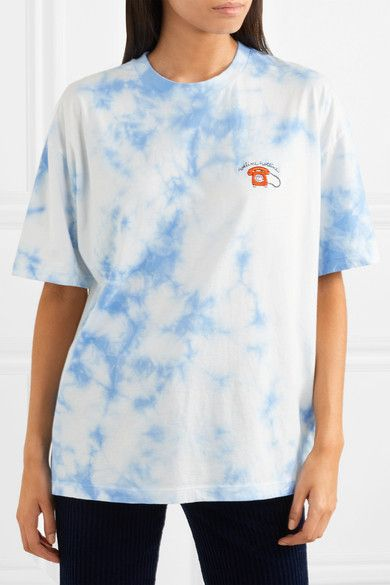 Footaction Sale Online Ginsbourg Verbena Embroidered Tie-dyed Cotton-jersey T-shirt - Light blue Ganni Outlet Classic hNW9w8Hq