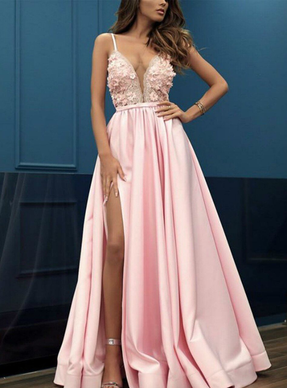 Photo of A-Line Pink Satin V-neck Appliques Prom Party Dress With Side Spl