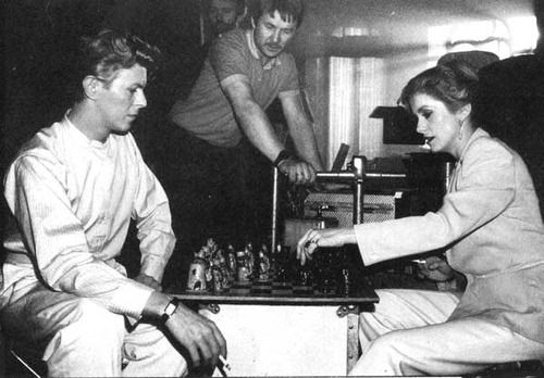 """Catherine Deneuve & David Bowie on the set of """"The Hunger"""""""