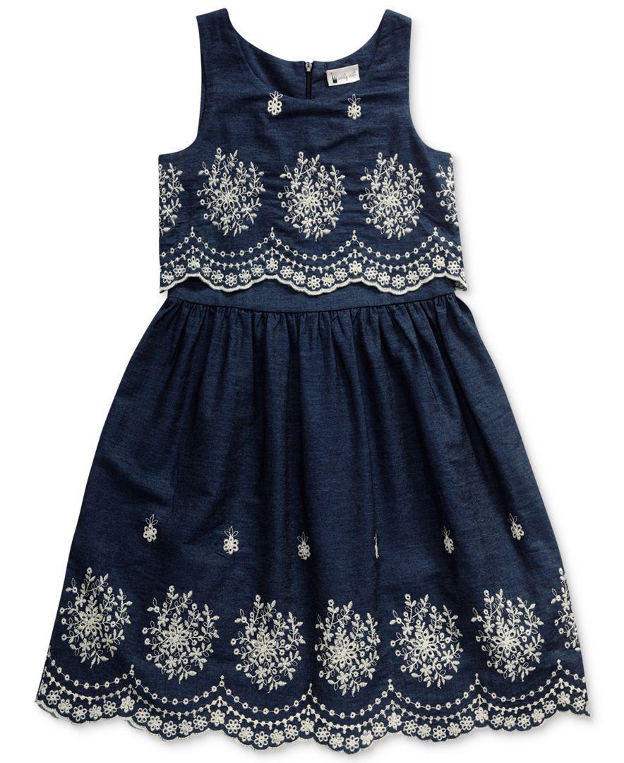 7cbed56058 Sweet Heart Rose Cotton Eyelet   Denim Popover Dress