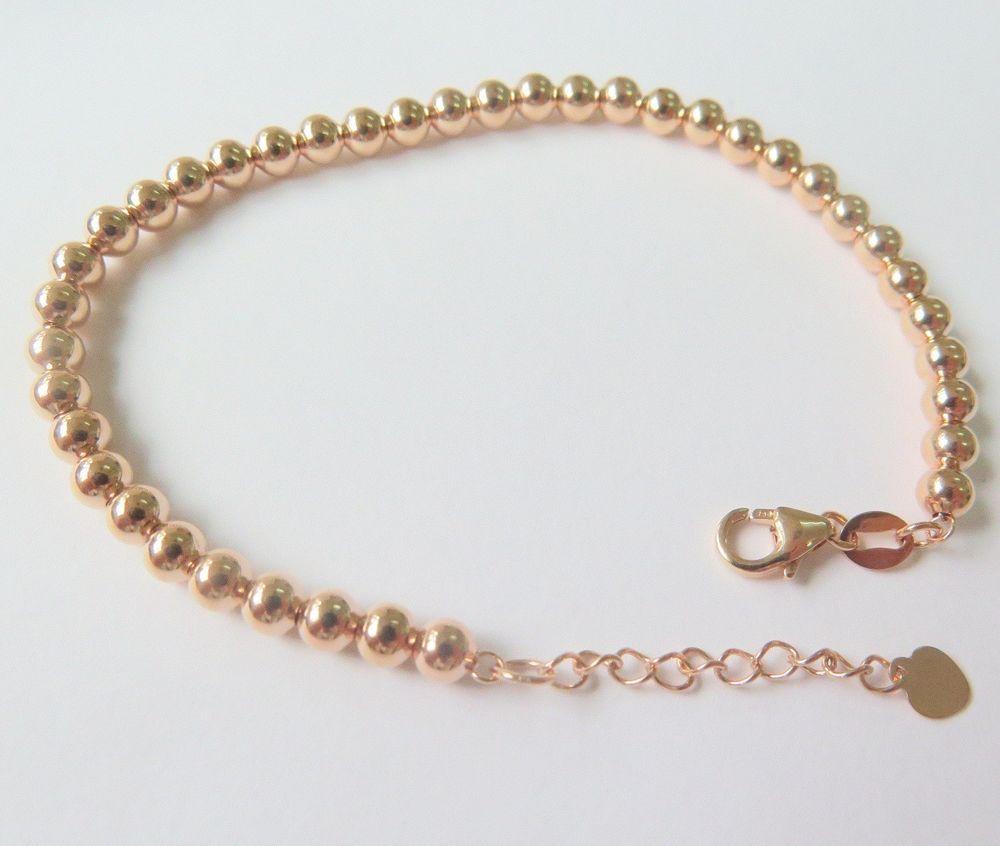 inch solid k rose gold bracelet mm shiny bead link chain