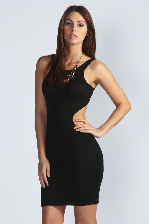 Boohoo Melissa Sleeveless Tie Back Cutout Side Dress Women Dress Online Tight Dresses Dresses [ 1500 x 1000 Pixel ]