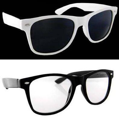 f1c24fa992a Lot of 2 Nerd Glasses Buddy Holly Wayfarer Black and White Frame Clear Dark  Lenses -