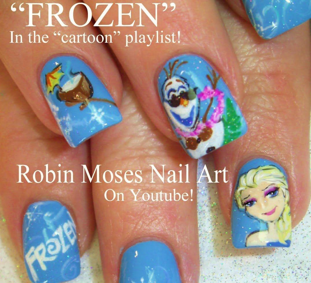 FROZEN Nail Art - Elsa and Olaf Nail Design Tutorial! | cute nail ...