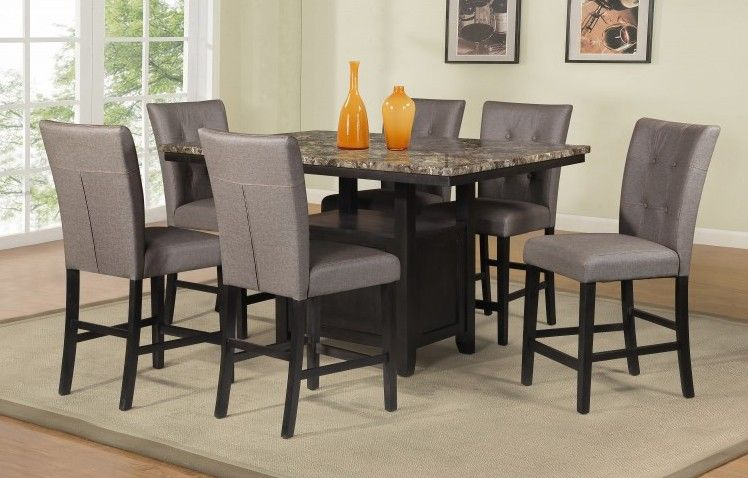 7 Pc Maribell Collection Light Espresso Finish Wood Faux Marble Top Counter  Height Dining Table Set. This Set Includes The Table 6   Side Chairs.
