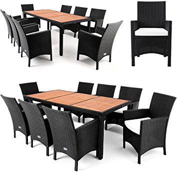 Polyrattan Sitzgruppe 8+1 Tischplatte aus Akazienholz Essgruppe - gartenmobel rattan sitzgruppe