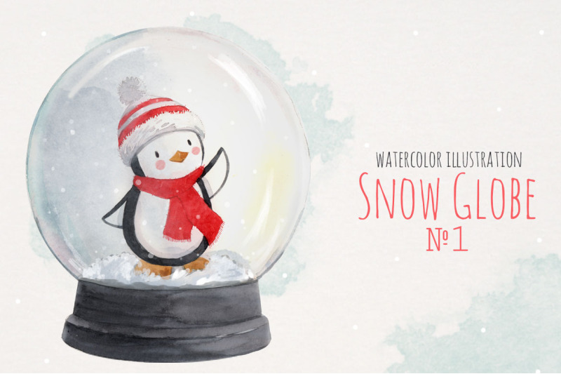 Christmas Snow Globe With Cute Penguin Watercolor Isolated Print Png By Lembrik S Artworks Thehun Watercolor Christmas Cards Snow Globes Penguin Watercolor