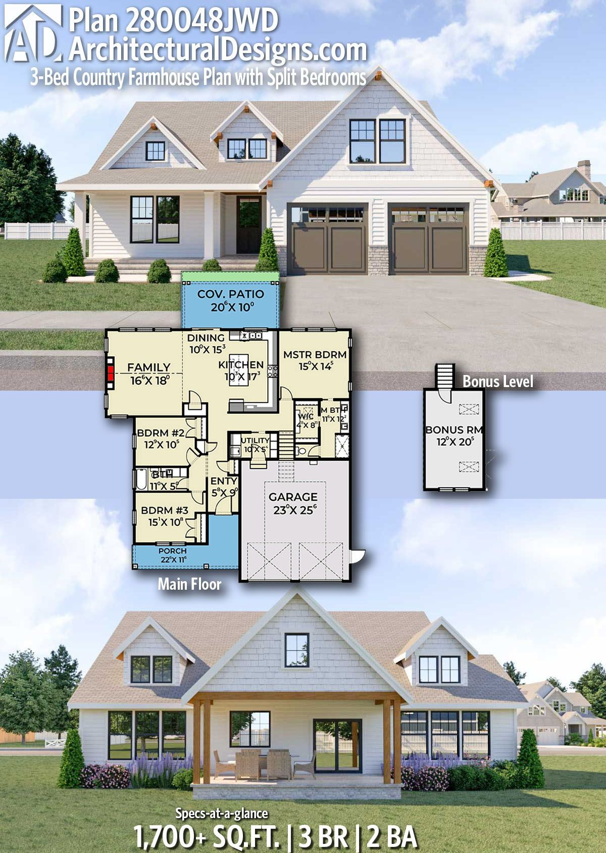 Plan 280048jwd 3 Bed Country Farmhouse Plan With Split Bedrooms Small Farmhouse Plans Modern Farmhouse Plans Farmhouse Plans