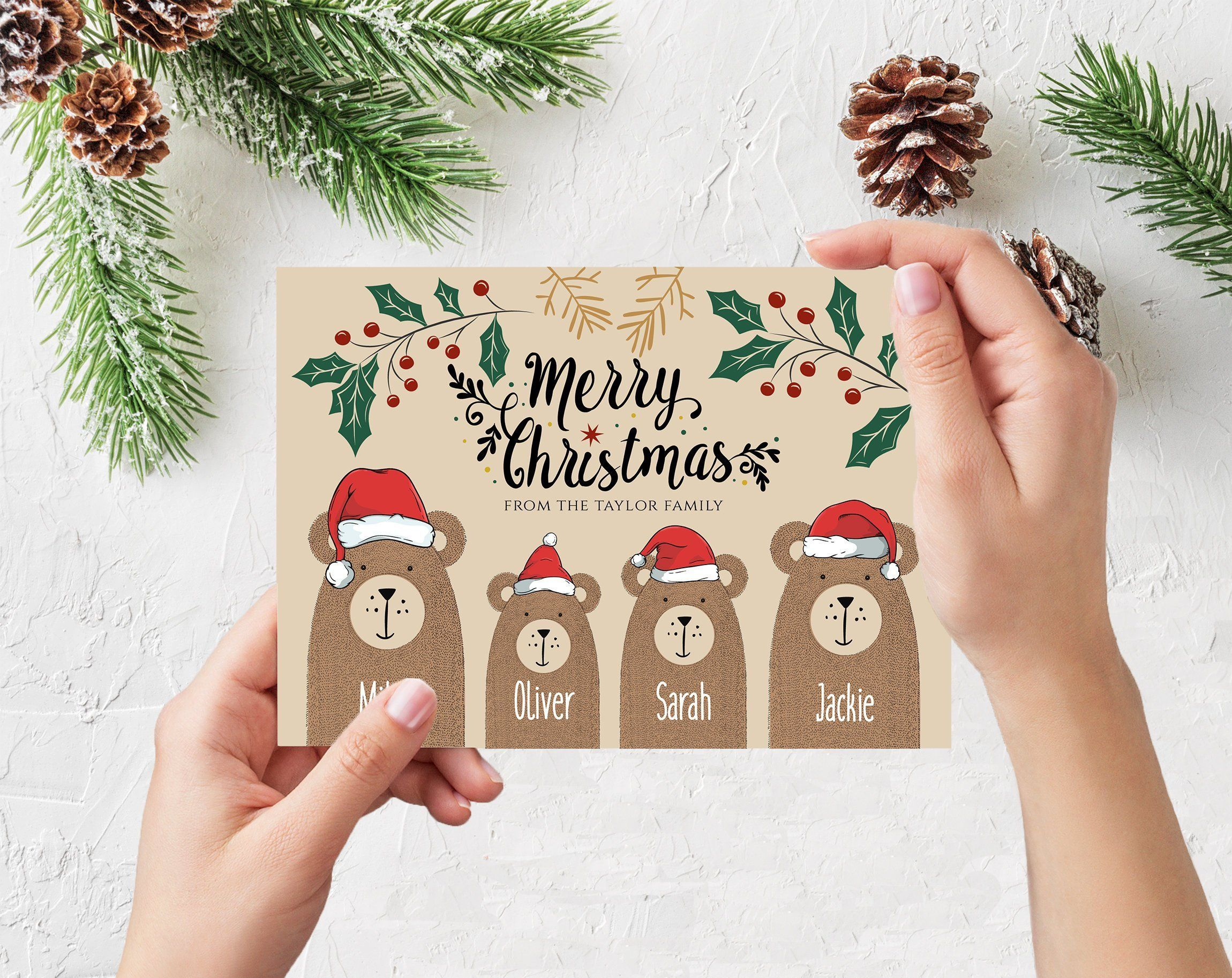 Personalized Christmas Cards -2020 Set of 3 Personalised Christmas Greeting Cards   Bear Family