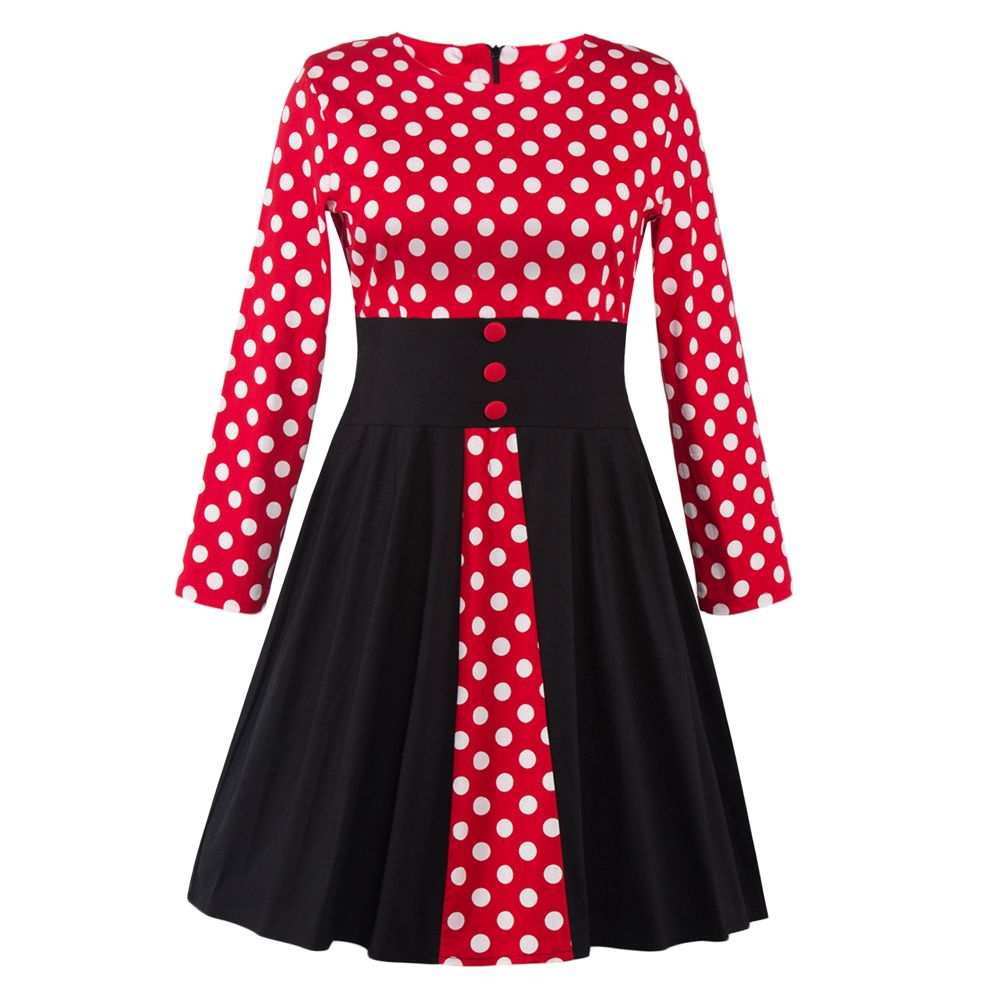 Click to buy ucuc womens retro oneck polka dot dress vintage long