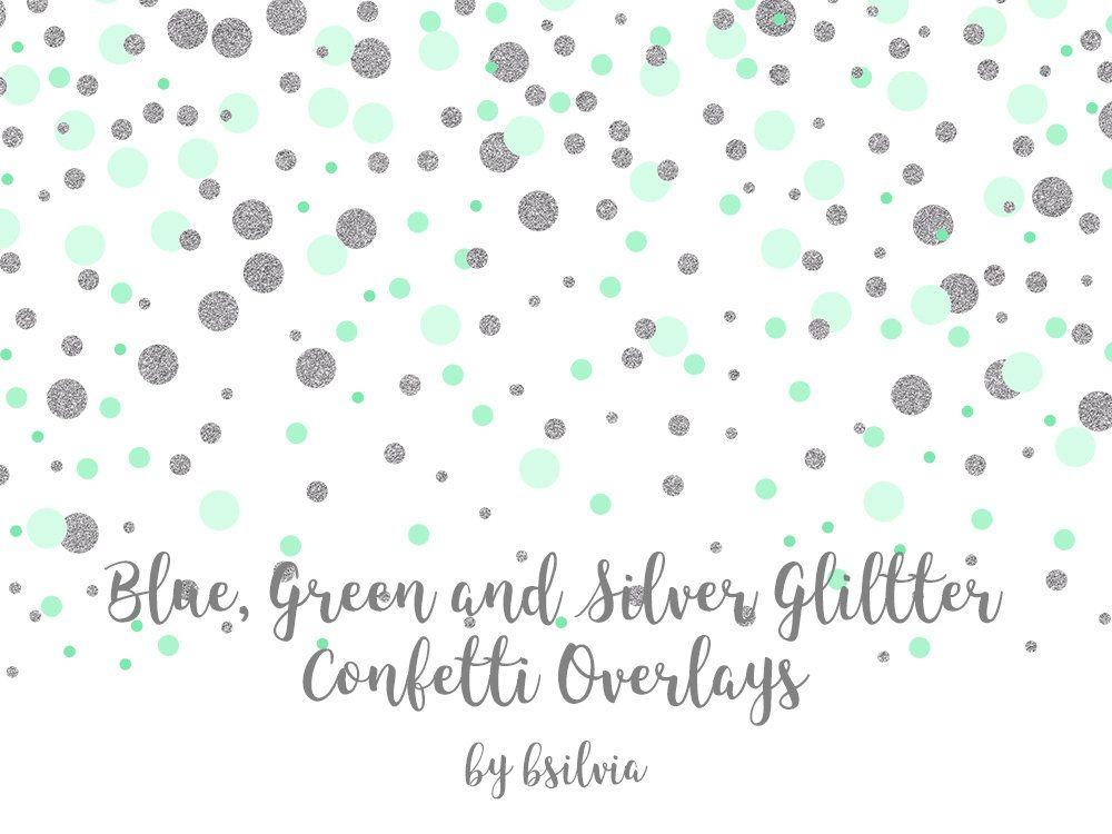 Blue Green And Silver Glitter Confetti Overlays Transparent Etsy Overlays Transparent Photo Overlays Overlays