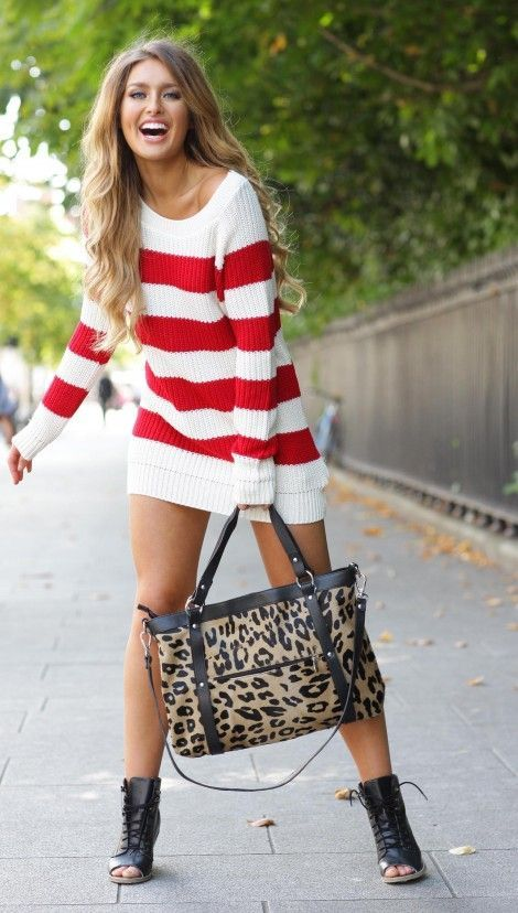 Street style striped sweater dress and animal prints handbag