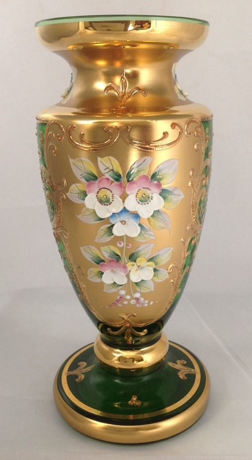 Yellow Glass Vase Hand Painted Girl with Spoon Mary