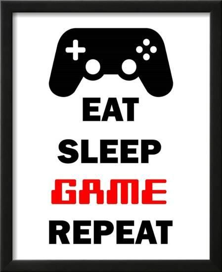 Eat Sleep Game Repeat White Poster Color Me Happy Allposters Com Red Art Print Gaming Wall Art Eat Sleep