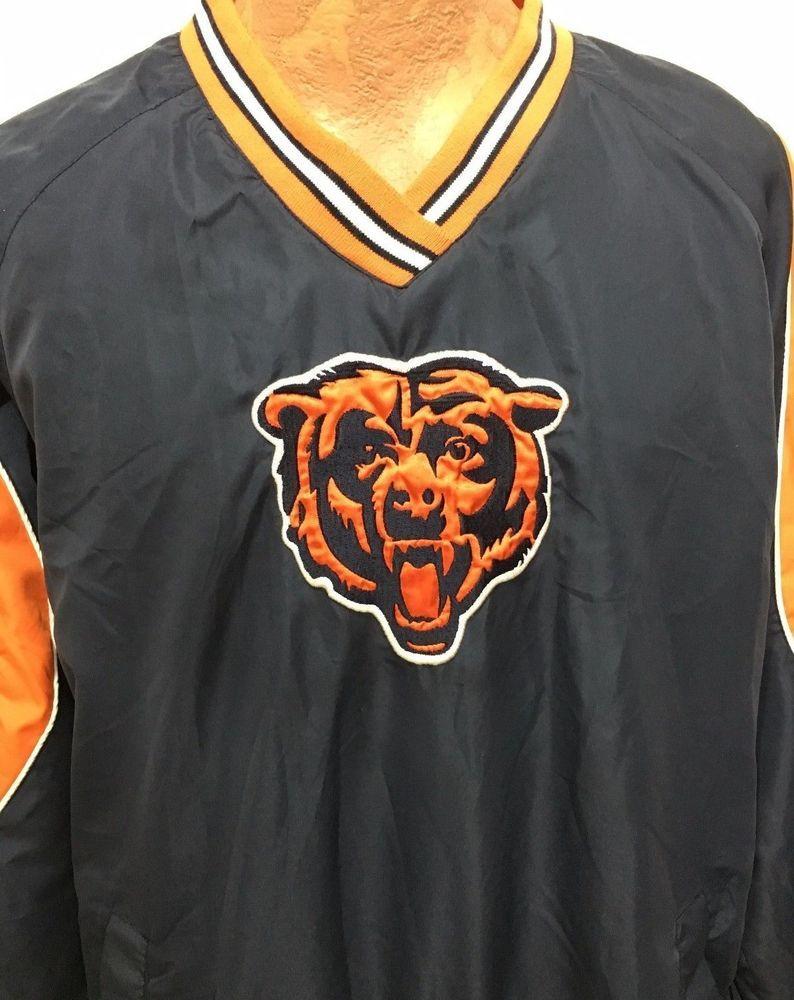 Chicago Bears Mens L Football NFL Blue Orange Pullover Jacket  NFL   ChicagoBears a35ee352e