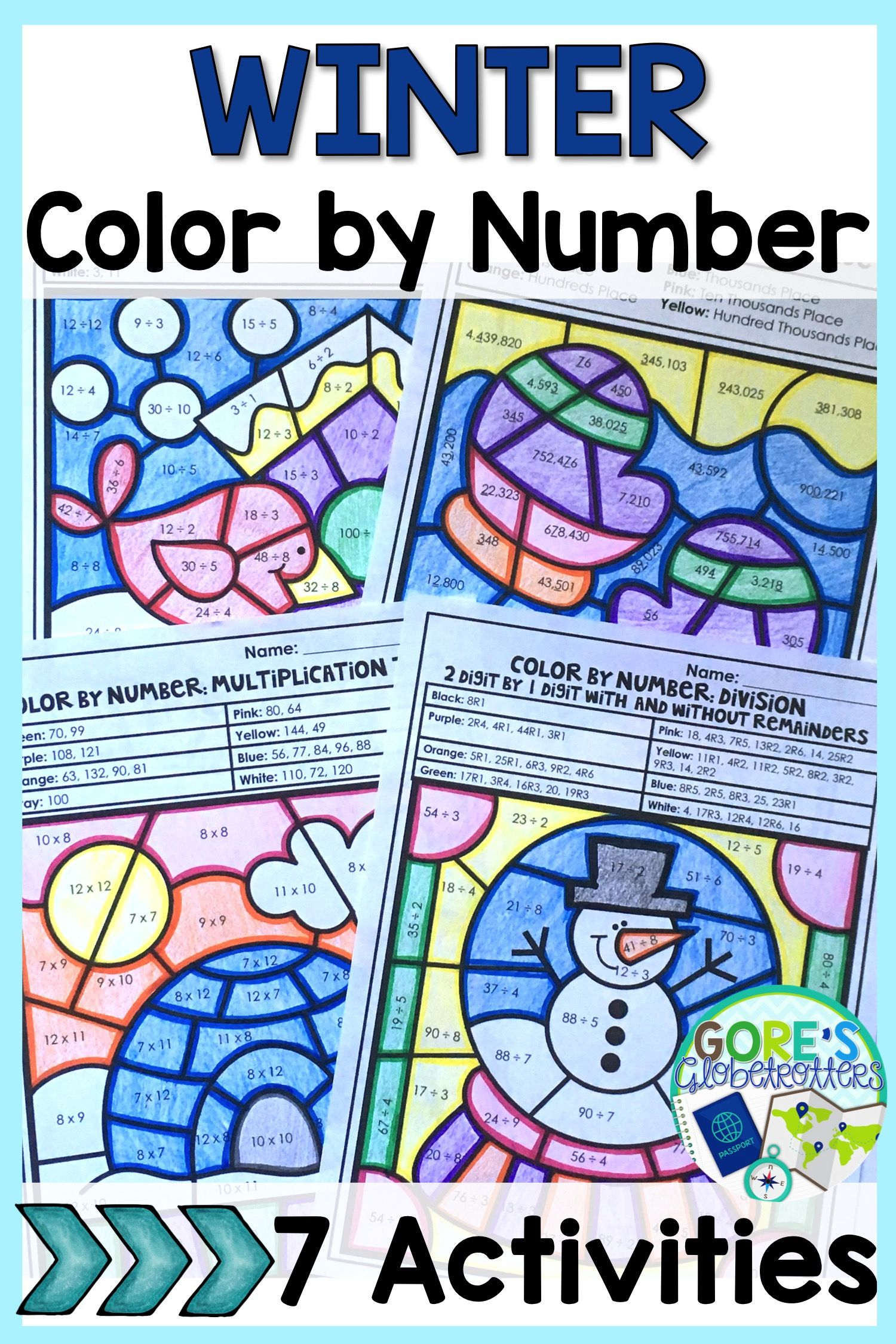 Winter Color by Number Math Worksheets - Variety of Skills | 4th ...