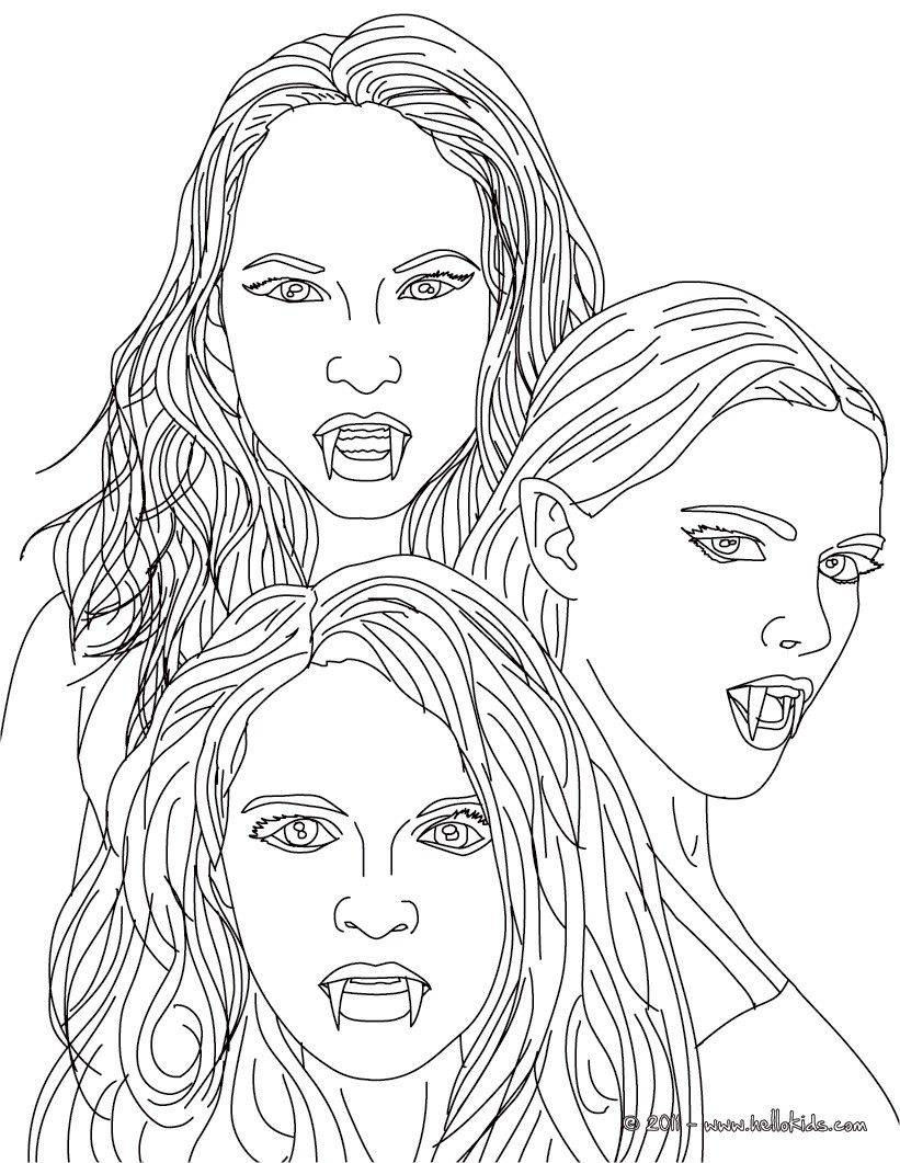 Kleurplaat the 3 empusa mythical vampires coloring page for Mythical coloring pages for adults