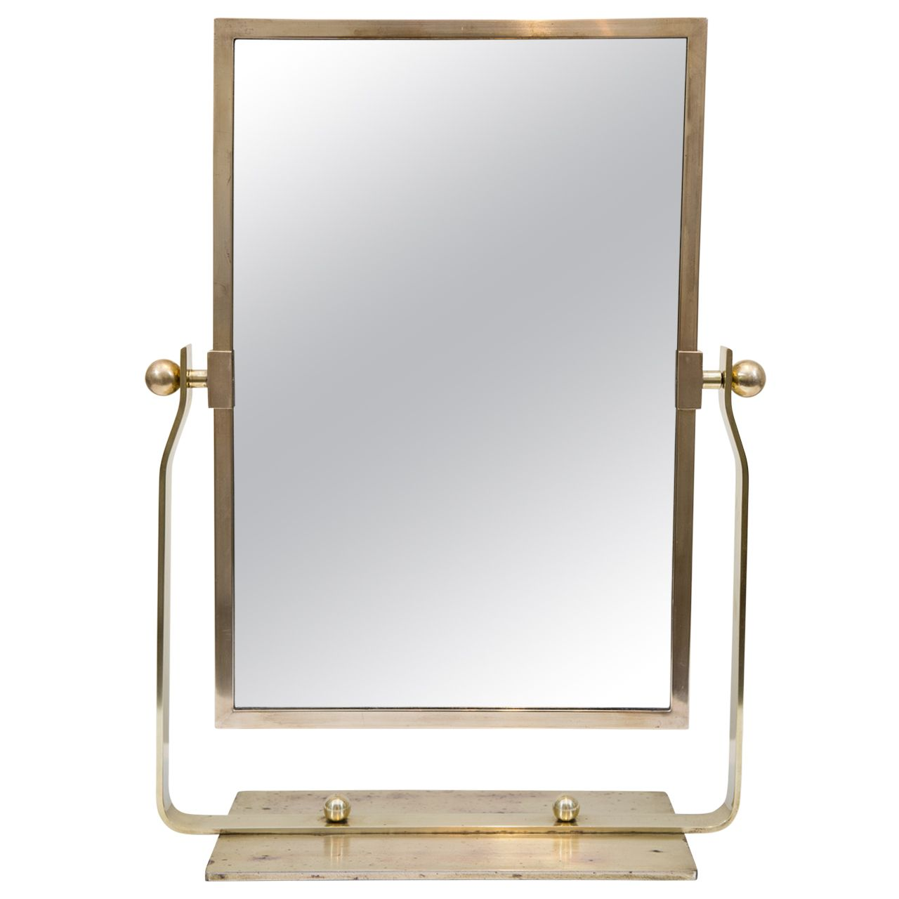 French Deco Brass Table Top Mirror
