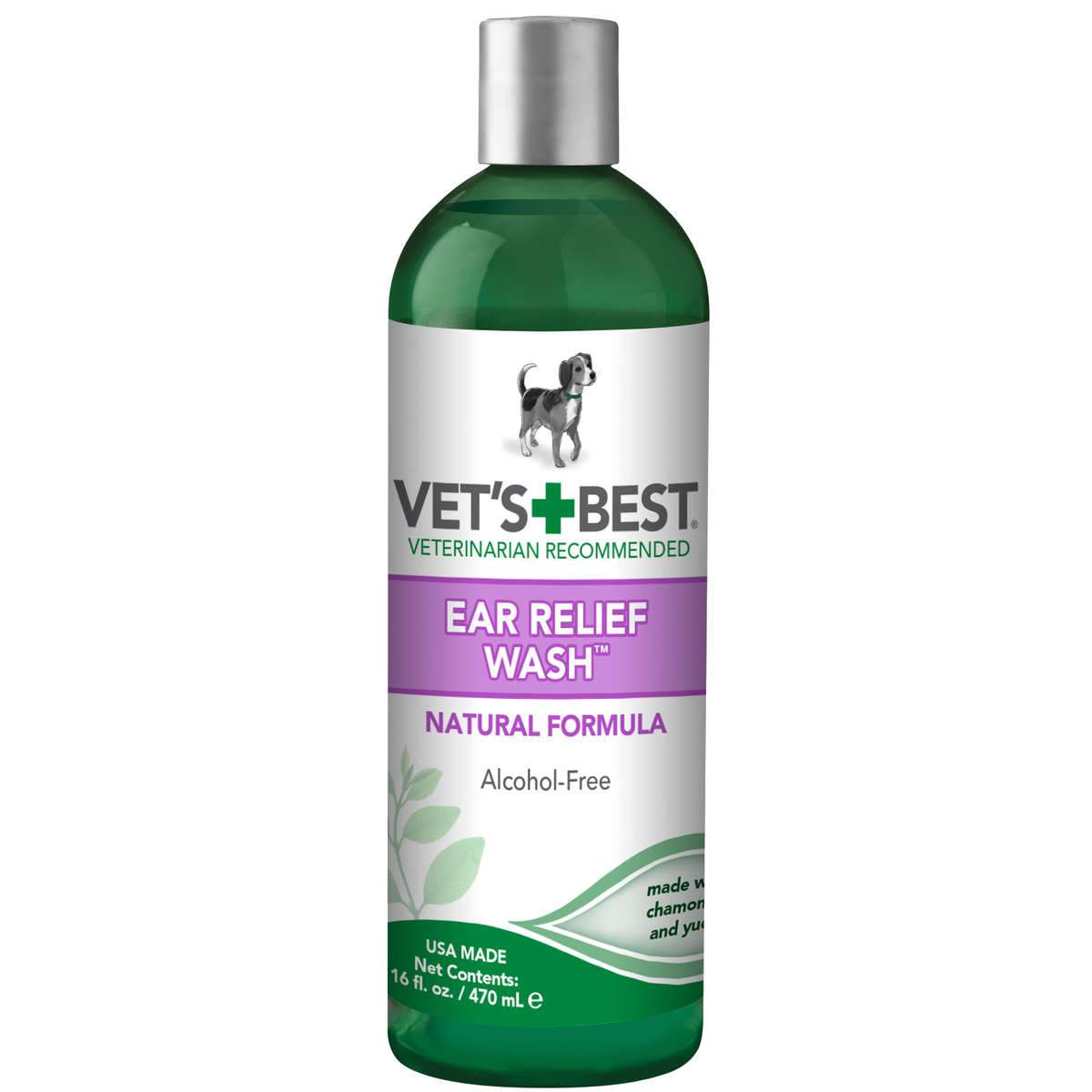 "Vet's Best Dog Ear Relief Wash 16oz Green 2.5"" x 2.5"" x 8"