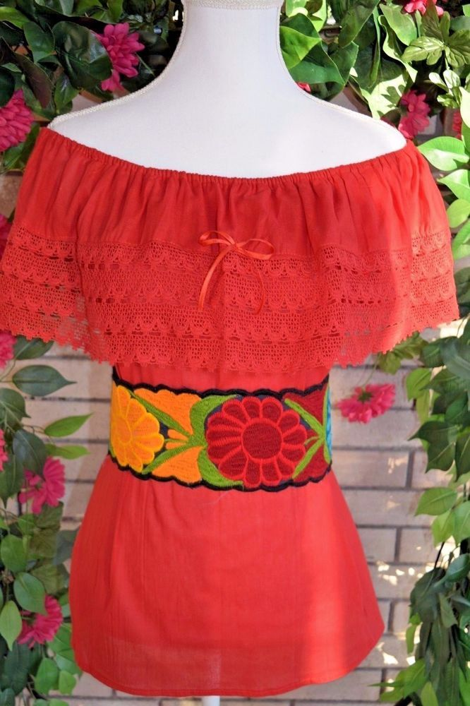 c9fb7794 RED CAMPESINA/PEASANT MEXICAN BLOUSE SIZE SMALL/MEDIUM/ONESIZE OFF SHOULDER  #Handmade #Huipil