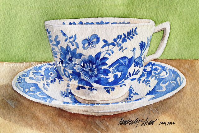 projects idea unique tea cups. Take a sneak peak into my life as watercolor artist and designer of Teacup  Greeting Cards Stationery where you ll discover business tips art projects Blue white teacup saucer by Kimberly Shaw